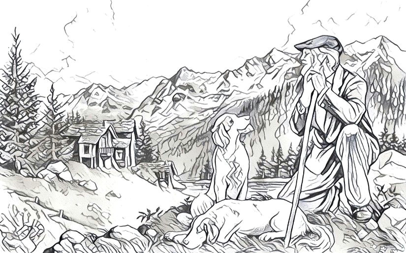 Collie Drawing Easy Shepherd and Her Dog Paisajes Mountain Drawing