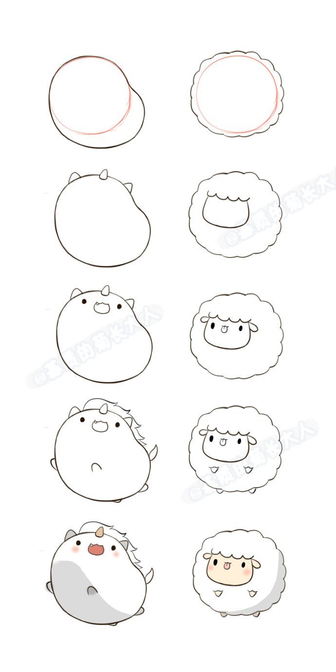 Cute and Easy Animal Drawings Unicorn Sheep Animal Drawings Cute Drawings Cute Animal