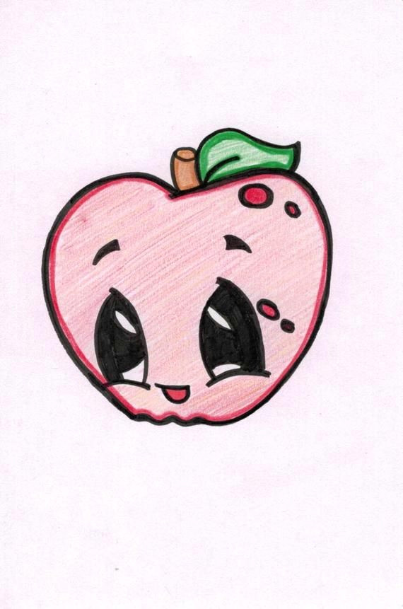 Cute Easy Apple Drawing Apple Cartoon In 2020 Cartoon Drawings Cute Drawings