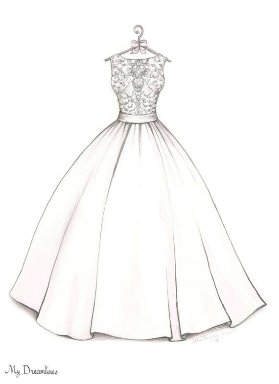 Drawing Gown Designs Easy Bridal Shower Gift Wedding Dress Sketch Bride Gift From
