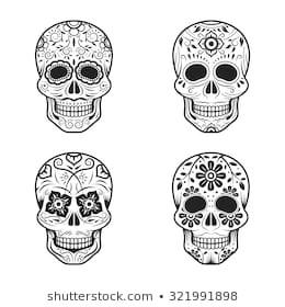day dead skulls black white 260nw 321991898 jpg