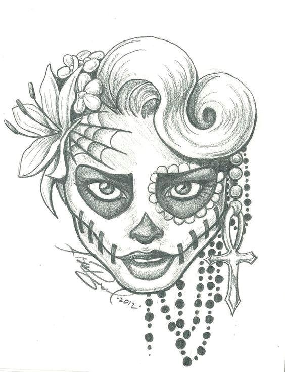 Easy Day Of the Dead Skull Drawings Sugar Skull Lady Drawing Sugar Skull Two by Leelab On
