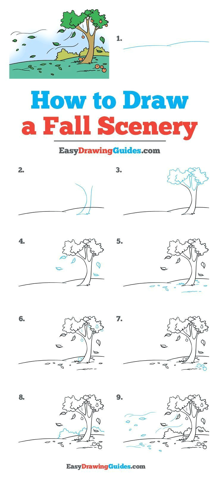 Easy Fall Pictures to Draw How to Draw Fall Scenery Really Easy Drawing Tutorial