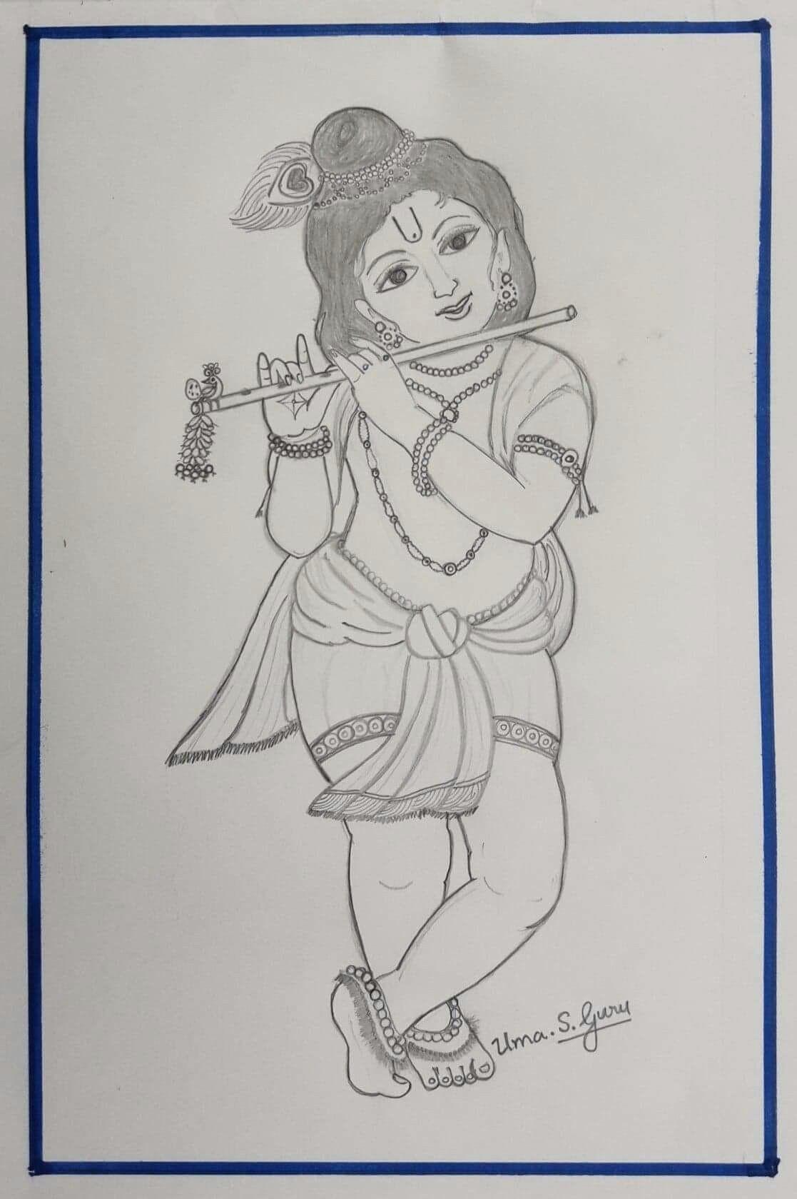 Easy God Drawing Hare Krishna Hai Khana Ki Krishna Drawing Bff Drawings