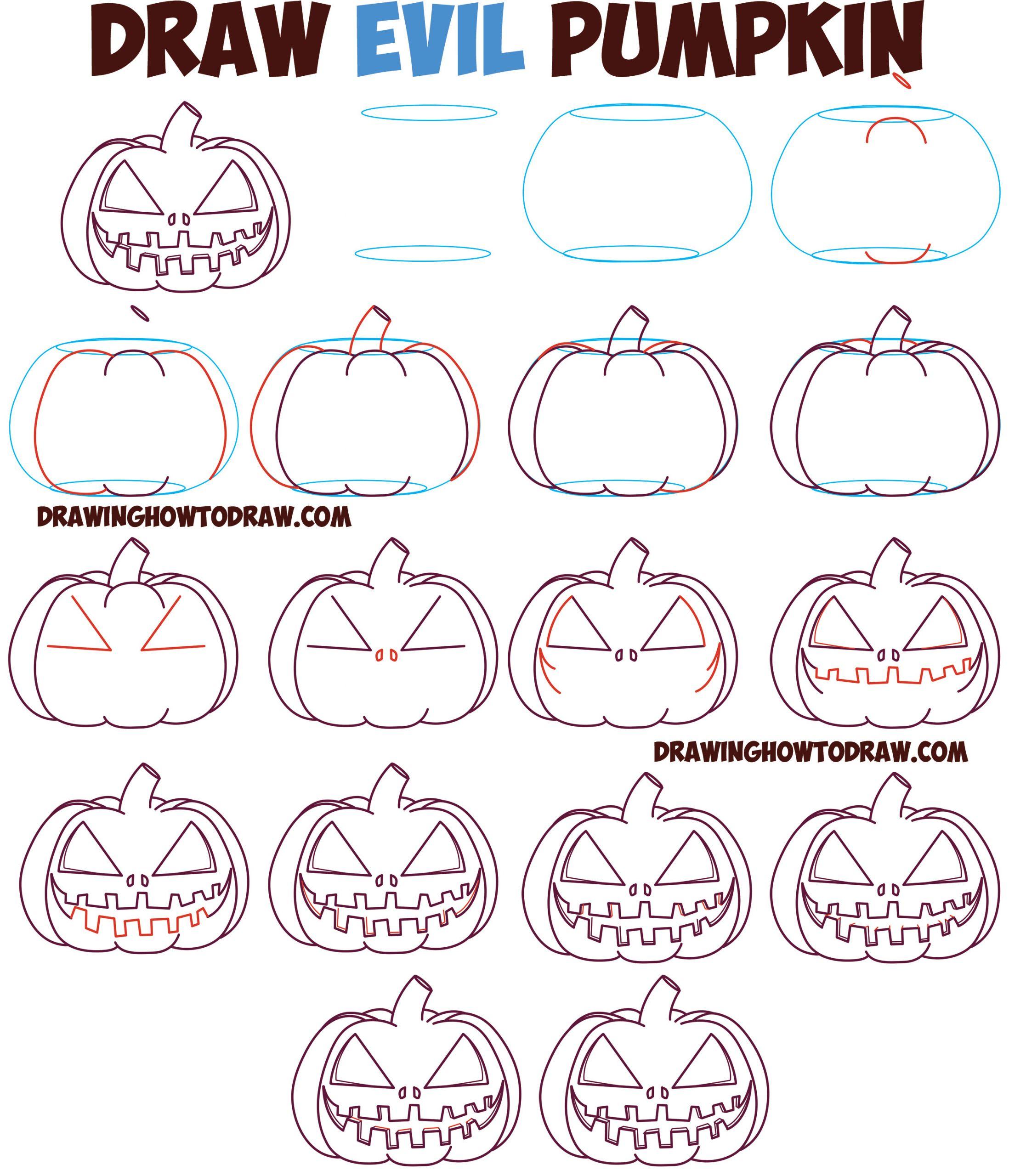 how to draw evil cartoon pumpkin jackolantern easy step by step jpg