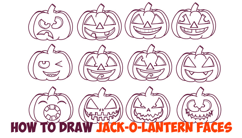 how to draw pumpkin faces jack o lantern expressions easy step by step drawing tutorial beginners jpg