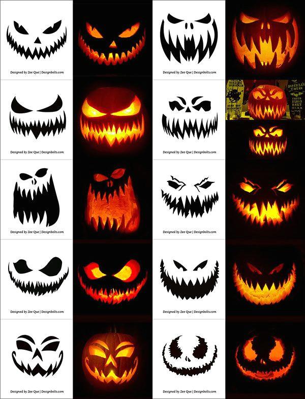 Easy Scary Halloween Drawings 290 Free Printable Halloween Pumpkin Carving Stencils