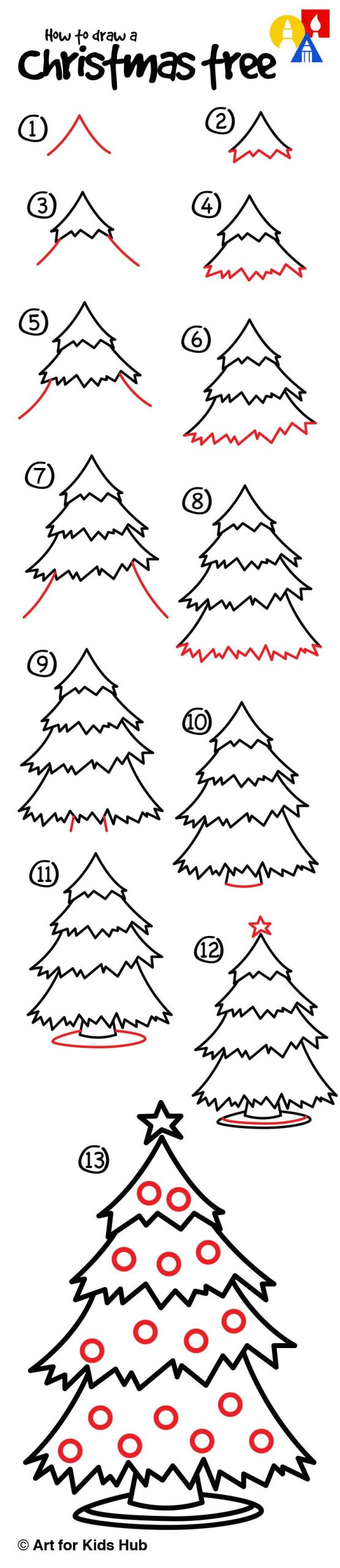 Easy Things to Draw for Christmas How to Draw A Christmas Tree Art for Kids Hub Art for