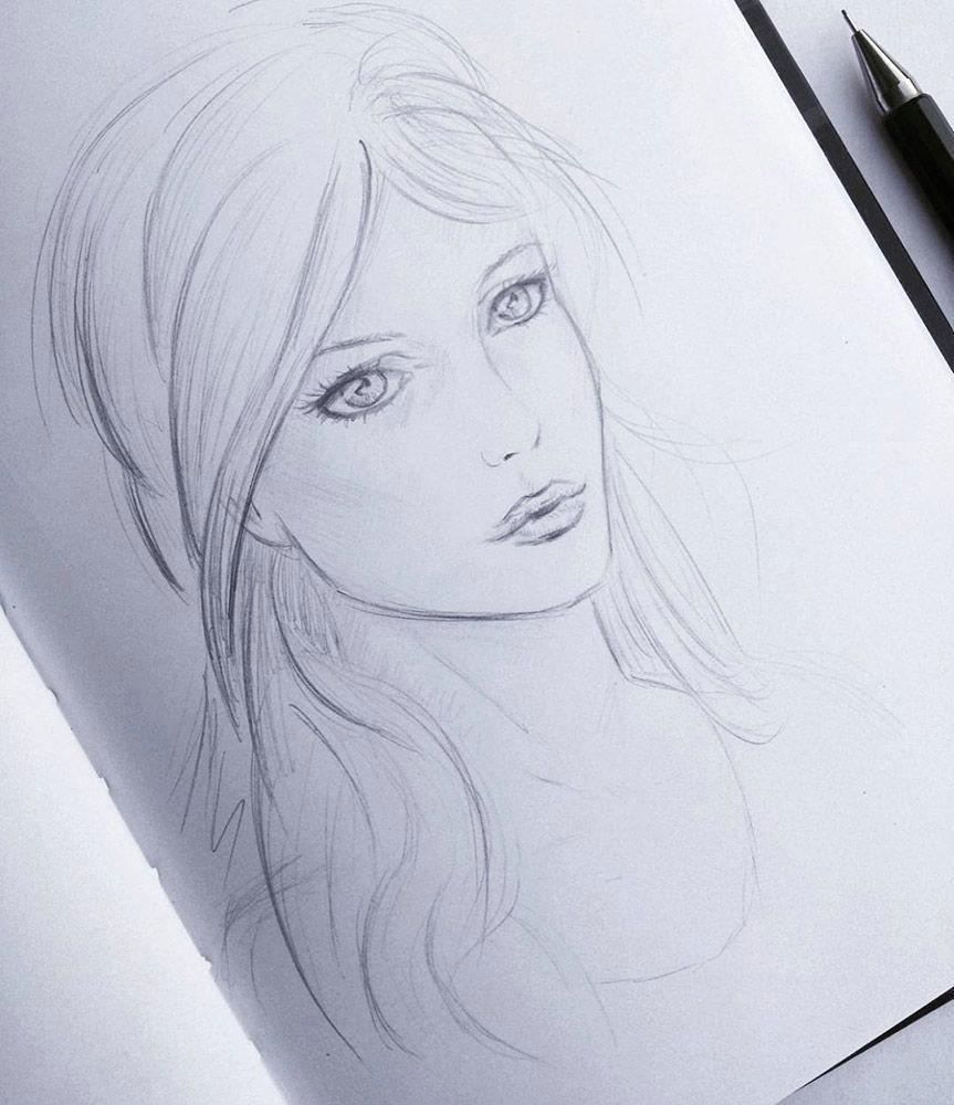 Face Easy Drawing Skizzeskizze Weibliches Gesichtweibliches