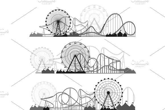 Ferris Wheel Drawing Easy Vector Illustration Ferris Wheel Carnival Funfair