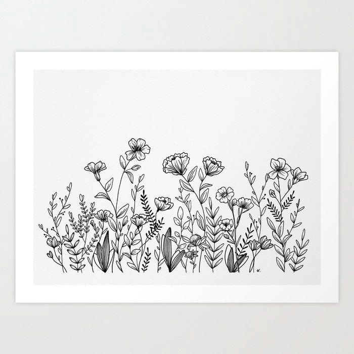 Field Drawing Easy Field Of Wildflowers Art Print by Wildbloomart Worldwide