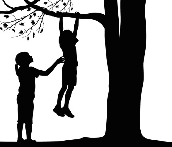 Girl Climbing Tree Drawing Silhouetts Of Sisters Illustration In Silhouette Of Little