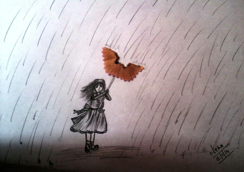 Girl In Rain Drawing Girl In Rain Sketch Artwork Pencil Sketch Drawings
