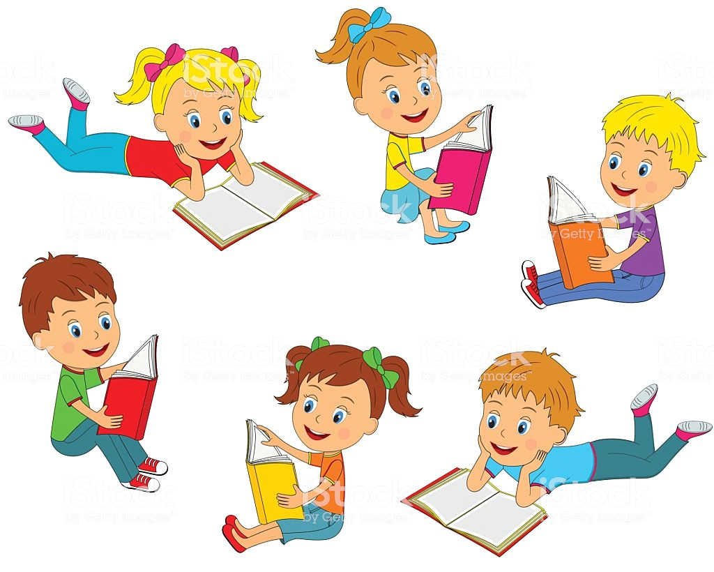 boys and girls reading a book collection vector id638332232