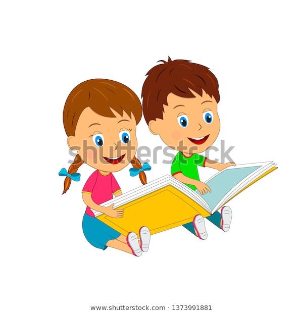 kids boy girl reading bookillustrationvector 600w 1373991881 jpg