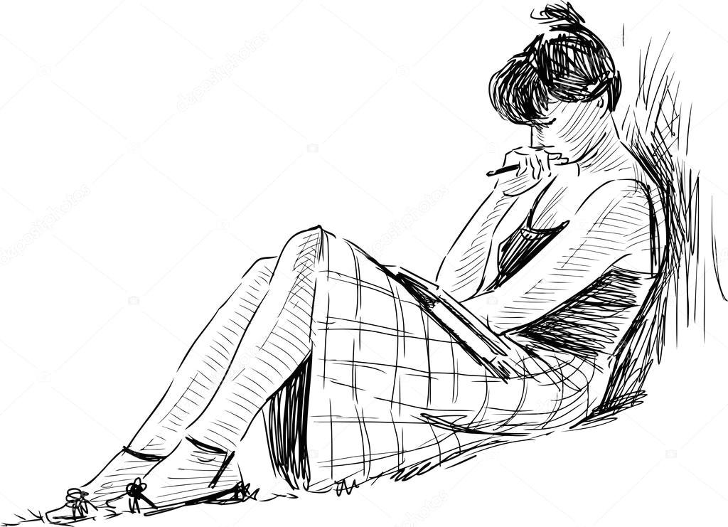 depositphotos 103541658 stock illustration sketch of reading girl jpg