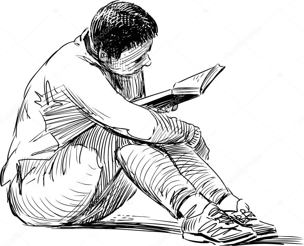 depositphotos 103541702 stock illustration sketch of reading woman jpg