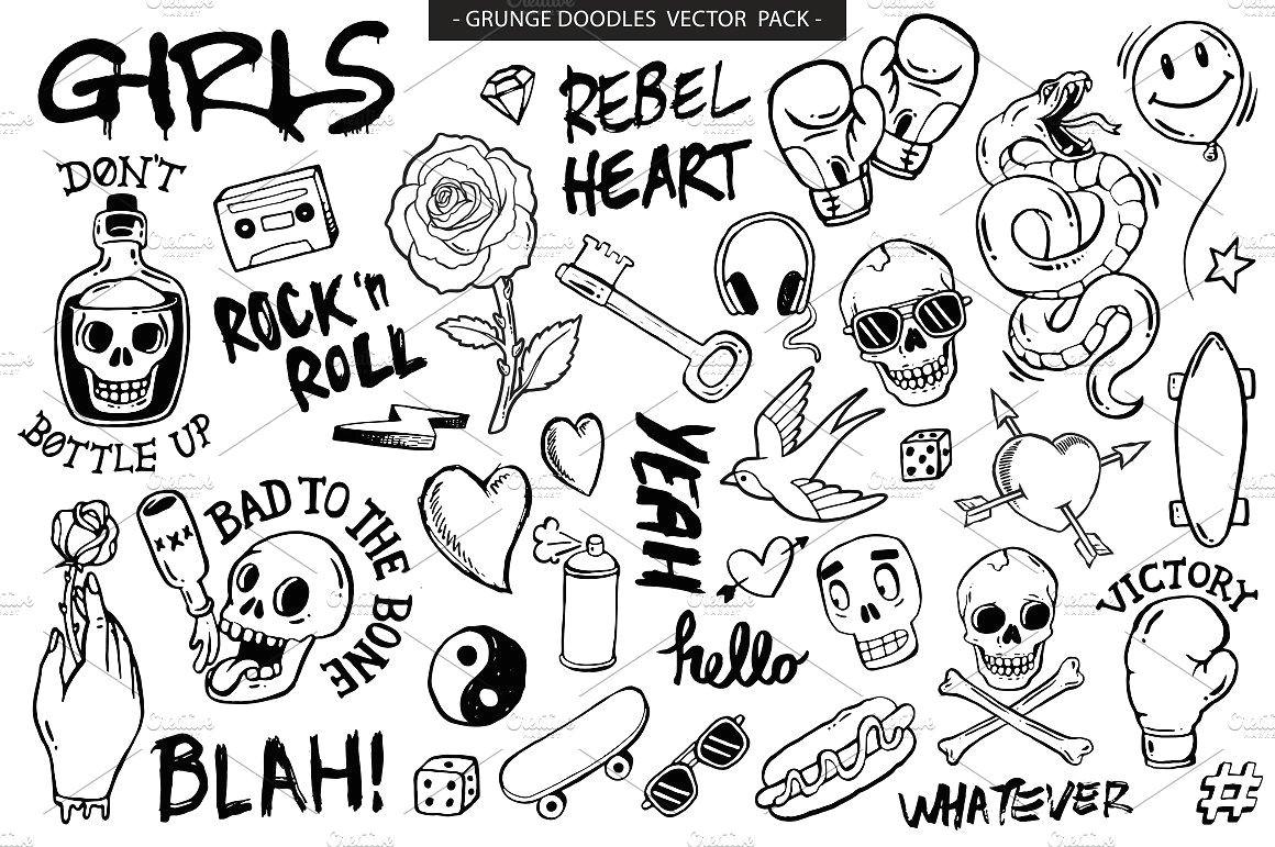 Graffiti Drawing Easy Grunge Graffiti Doodles Vector Pack Jacket Wearing Fashion