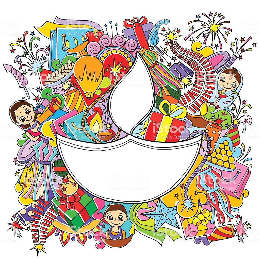 happy diwali doddle drawing vector id492705864