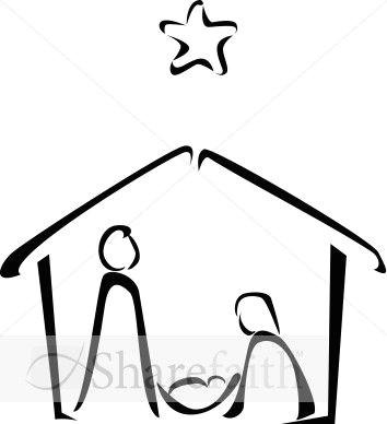 How to Draw A Nativity Scene Step by Step Easy Black and White Nativity Sketch Nativity Silhouette