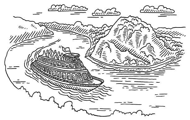 boat at loreley rock rhine river drawing vector id638112582
