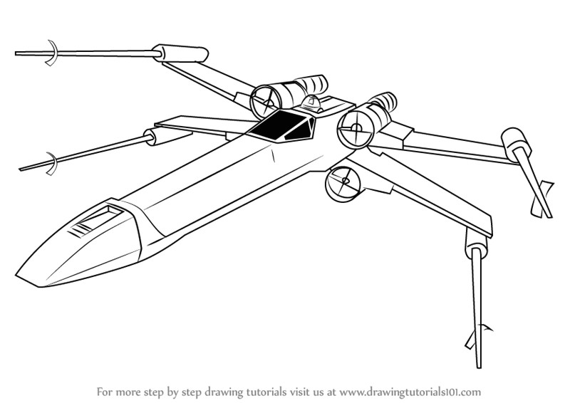 How to Draw X Wing Fighter Easy Insanely Examples How to Draw X Wing Wing Fighter From Star