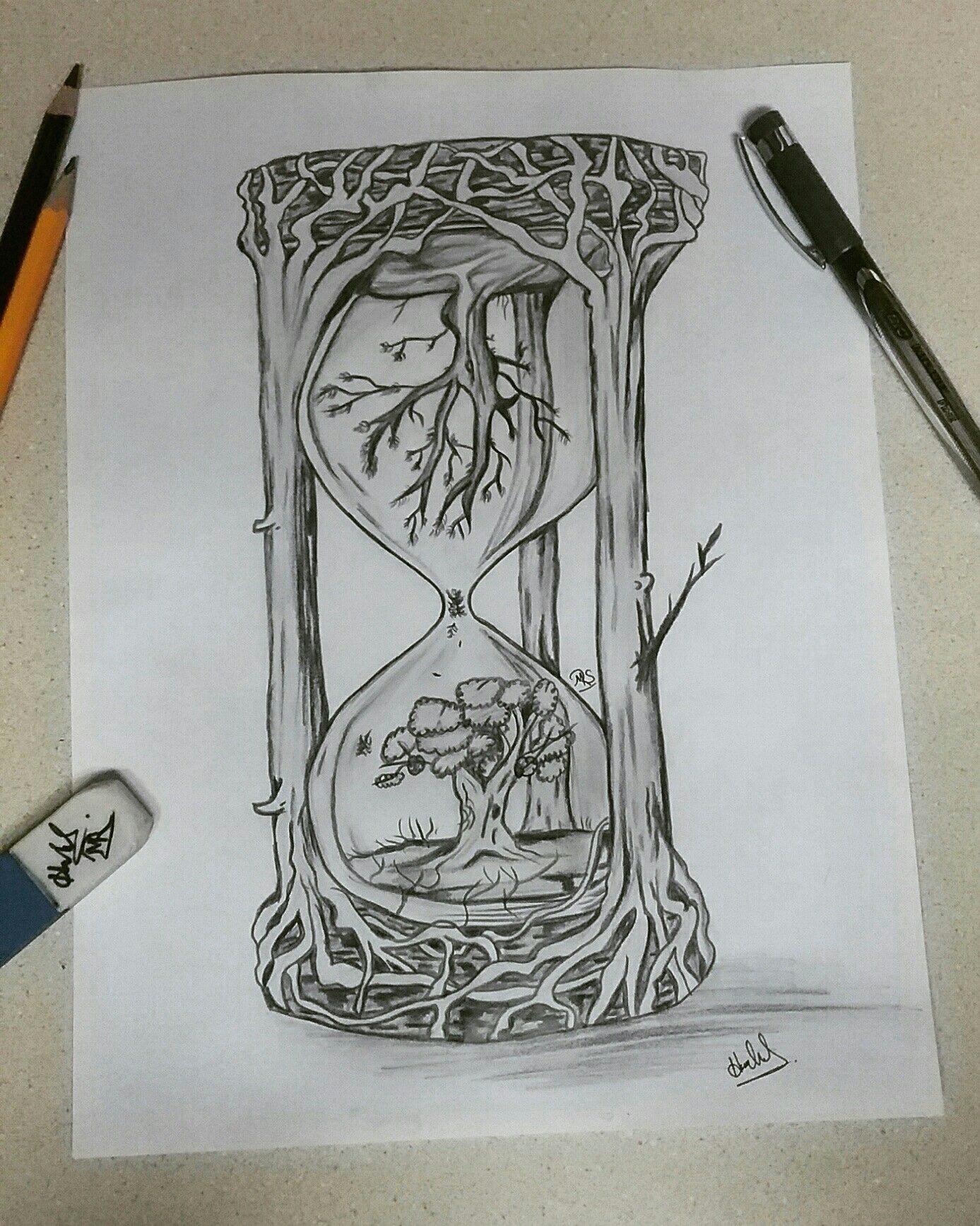 Imaginative Drawing Ideas Creative Hourglass Drawing Hourglass Drawing Pencil