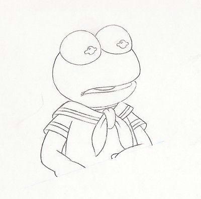 Kermit the Frog Easy Drawing Walt Disney Muppet Babies Kermit Animation Drawing Matted