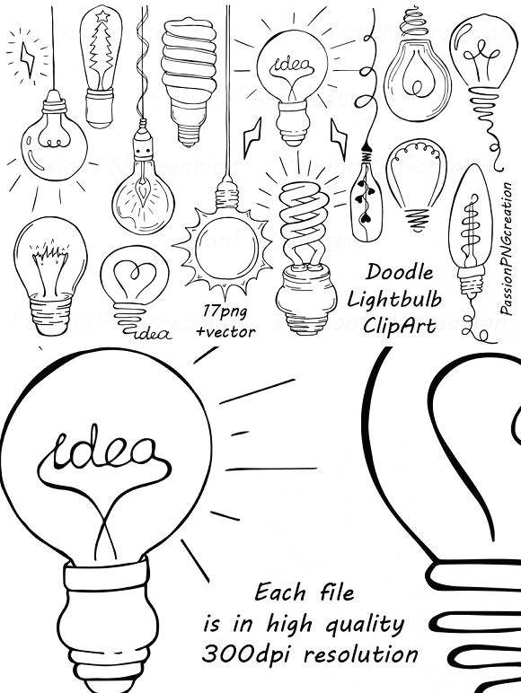 Light Bulb Easy Drawing Doodle Light Bulb Clipart Wedding Card Templates Yw