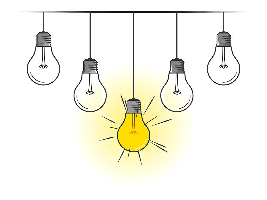 hanging light bulbs with glowing one on white background muchomor jpg