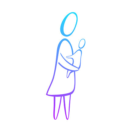 mom hugs baby icon mother holds child on the hands a simple line vector id1094536306