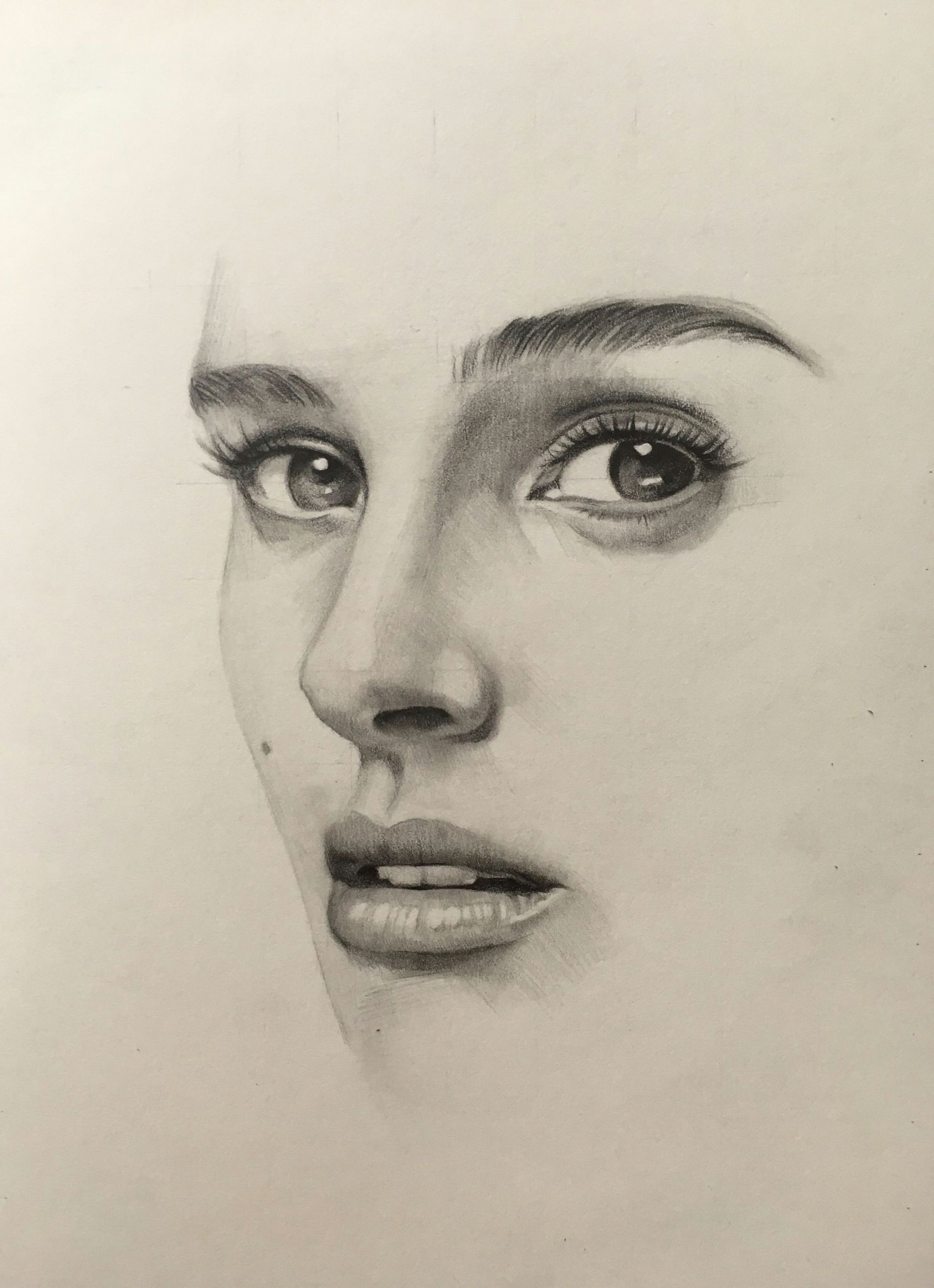 Portrait Drawing Of A Girl Pencil Portrait Mastery Natalie Portman Pencil Drawing by