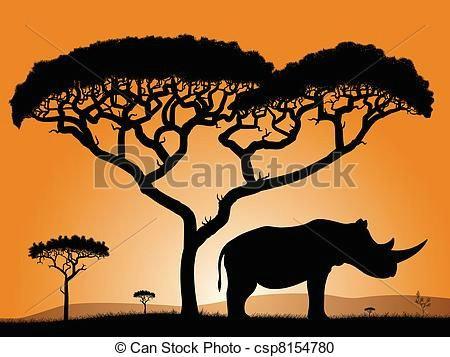 Savanna Drawing Easy African Savanah Drawing Savannah Rhino Dawn In the