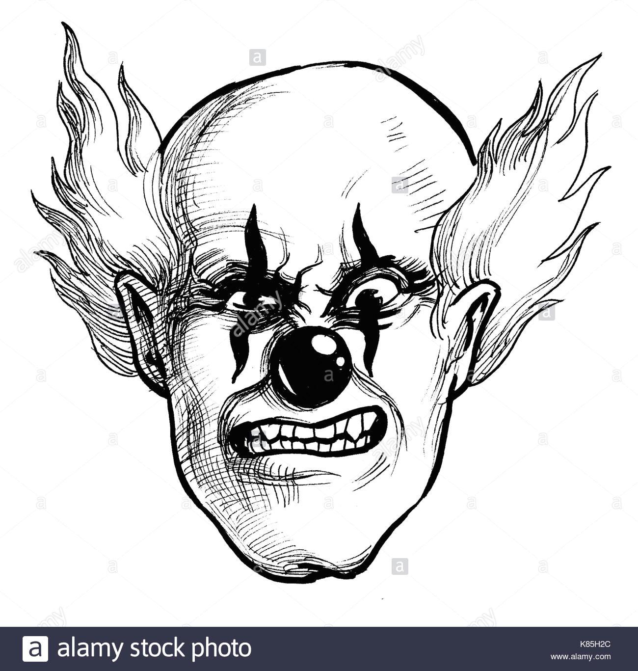 evil clown ink black and white drawing k85h2c jpg