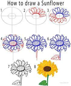 0cb6c3672a50102691cc68687b6caf23 how to draw a sunflower step by step draw flowers step by step jpg