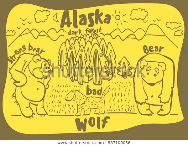 drawing funny animal alaska 600w 587100056 jpg