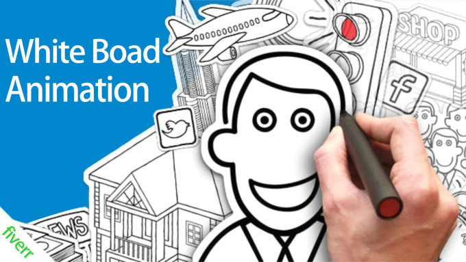 create whiteboard story animation with digital hand drawn video animation png