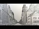 0 Point Perspective Drawing How to Draw A City Street In One Point Perspective Narrated Youtube
