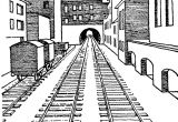 3 Point Perspective Cartoon Drawing This is A 1 Point Perspective Drawing Of A Train Station This is A
