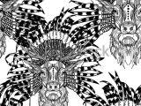 Animal Pattern Drawing Seamless Pattern Deer Ethnic Headdress Deer Stock Vector
