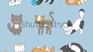 Animated Drawing Of A Cat Hand Drawing Cute Cats Vector Kitty Stock Vektorgrafik Lizenzfrei