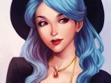 Anime Digital Drawing Artistic Blue Haired Girl Drawing Drawing Art Girl Blue