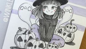 Anime Ghost Drawing Cute Witch with Jack O Lanterns and Ghosts Ink Minimal