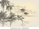 Bank Drawing Easy Beach Drawing Palm Trees and Mountains In the Background