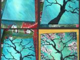 Canvas Drawings Easy Step by Step Pink Flowering Tree Painting with Pretty Teal