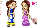 Cartoon Drawing Bheem Coloring Chutki and Indumati Color Swap Chhota Bheem and Krishna