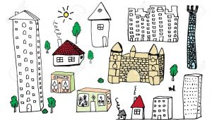 Cartoon Drawing Buildings Set Od Hand Drawing Building Royalty Free Cliparts Vectors and