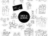Cartoon Drawing Classes Black White Cartoon Illustration School Education Stock Vector