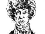 Cartoon Drawing Doctor 4th Doctor who tom Baker original Ink Drawing Illustration Pollard