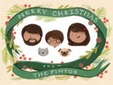 Cartoon Drawing Family Portrait Custom Illustrated Family Portrait Christmas Card Personalized